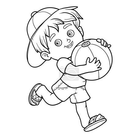 Illustration pour Livre à colorier pour enfants. Petit garçon avec ballon gonflable - image libre de droit
