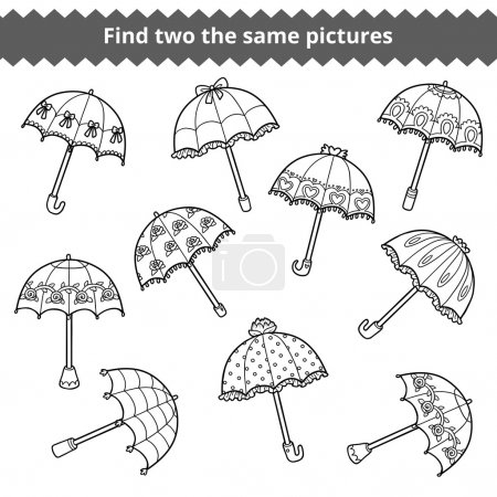 Find two the same pictures. Set of umbrellas