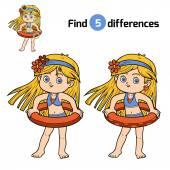 Najdete rozdíly. Holčička s záchranný kruh
