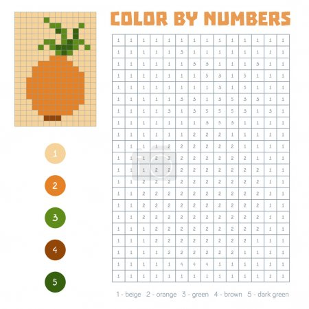Color by number, fruits and vegetables, onion