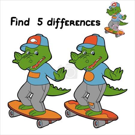 Find 5 differences (crocodile)