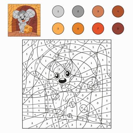 Illustration pour Couleur par numéro (souris) ) - image libre de droit