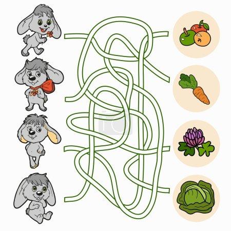 Illustration pour Jeu de labyrinthe pour enfants (lapins ) - image libre de droit