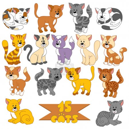Illustration for Set of various cute cats - Royalty Free Image