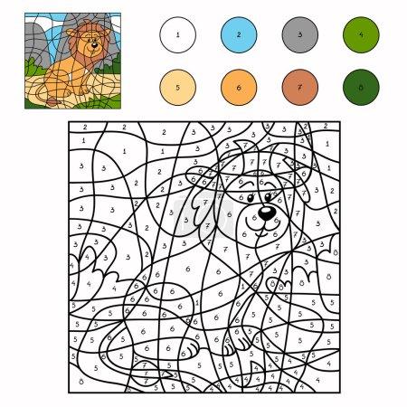 Illustration pour Couleur par nombre (lion ) - image libre de droit