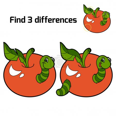 Find 3 differences (worm and apple)