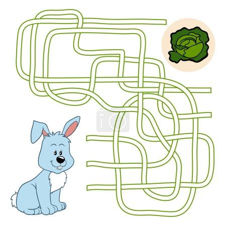 Illustration pour Jeu de labyrinthe (lapin ) - image libre de droit