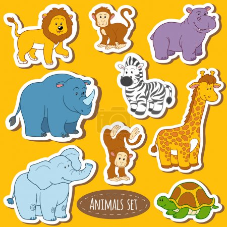 Set of various cute animals, vector stickers of sa...