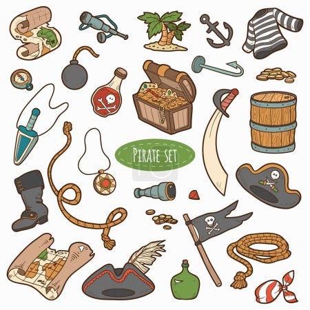 Photo pour Ensemble vectoriel d'articles pirates, collection de dessins animés colorés - image libre de droit