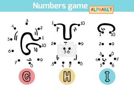 Numbers game (Alphabet): letters G, H, I. Numbers from one to te
