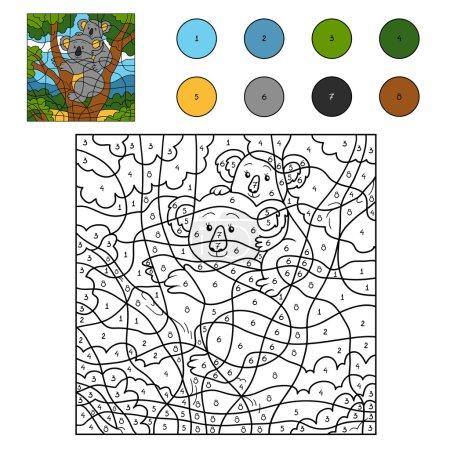 Illustration pour Jeu pour enfants : Couleur par numéro (famille koala ) - image libre de droit