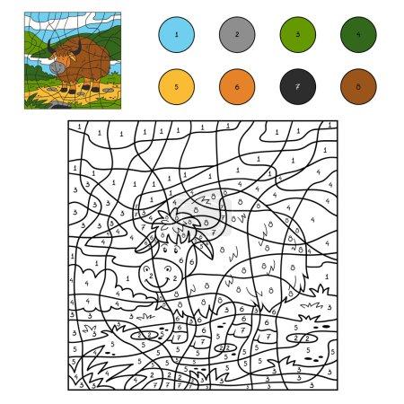 Illustration pour Jeu pour enfants : Couleur par numéro (yak ) - image libre de droit
