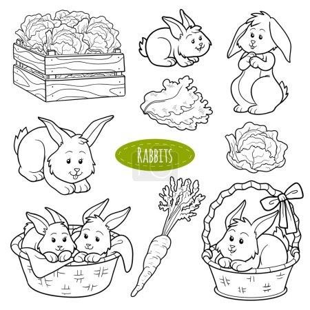 Illustration pour Ensemble d'animaux et d'objets de ferme mignons, lapins de la famille des vecteurs - image libre de droit