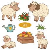 Color set of cute farm animals and objects vector family sheep