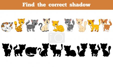 Illustration for Game for children: Find the correct shadow (cats) - Royalty Free Image