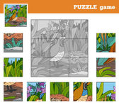 Puzzle Game for children with animals (quail)