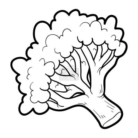Illustration pour Livre à colorier pour enfants : fruits et légumes (brocoli) ) - image libre de droit