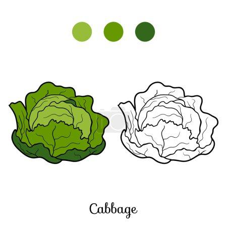 Illustration pour Livre à colorier pour enfants : fruits et légumes (chou) ) - image libre de droit