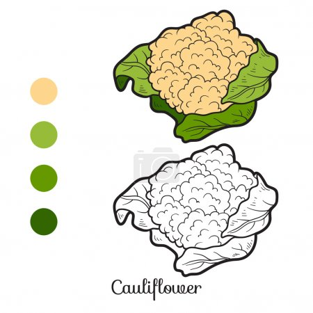 Illustration pour Livre à colorier pour enfants : fruits et légumes (chou-fleur) ) - image libre de droit