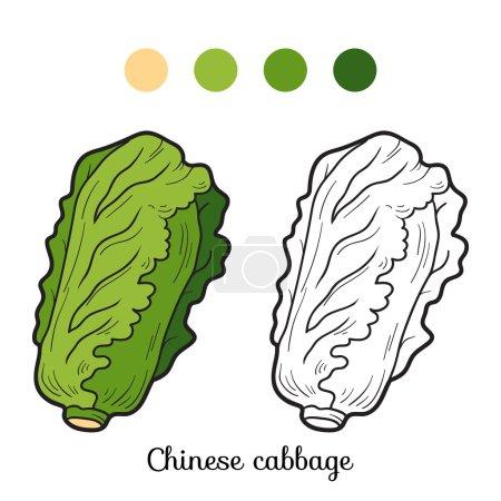Illustration pour Livre à colorier pour enfants : fruits et légumes (chou chinois ) - image libre de droit