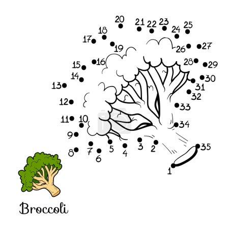 Illustration pour Jeu de chiffres pour enfants : fruits et légumes (brocoli ) - image libre de droit