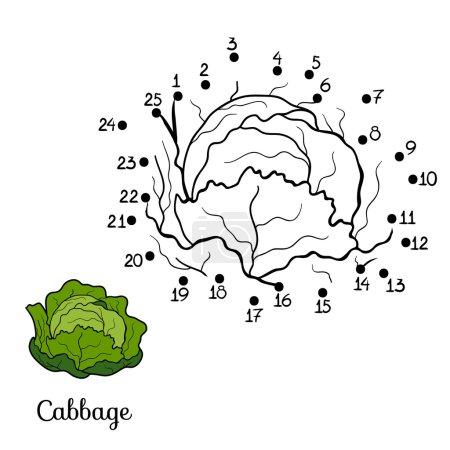 Illustration pour Jeu de chiffres pour enfants : fruits et légumes (chou ) - image libre de droit