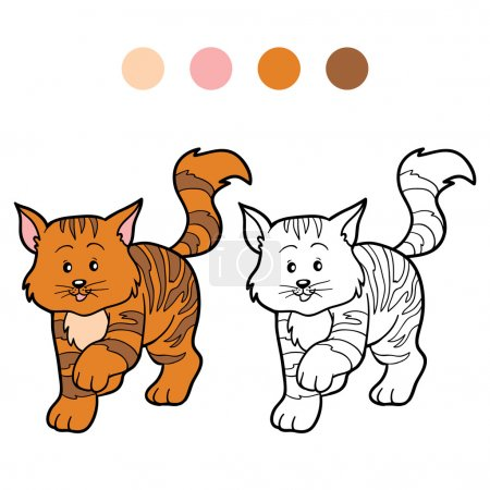 Coloring book for children (striped cat)