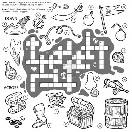 Vector colorless crossword, education game for children about pi