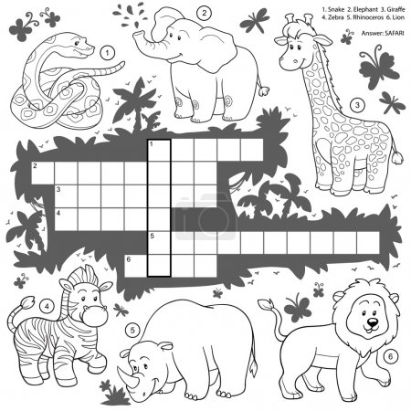 Vector colorless crossword, education game about safari animals