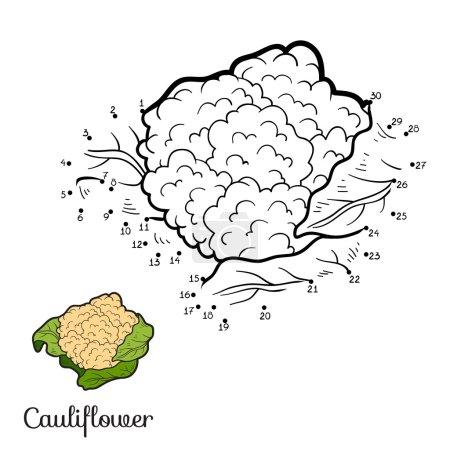Illustration pour Jeu de chiffres pour enfants : fruits et légumes (chou-fleur) ) - image libre de droit
