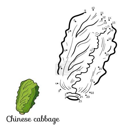 Illustration pour Jeu de chiffres pour enfants : fruits et légumes (chou chinois ) - image libre de droit