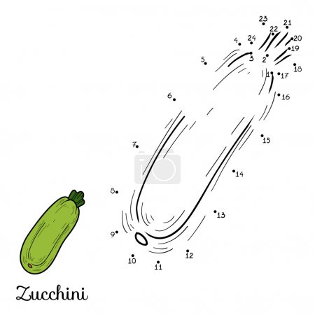Numbers vector game: fruits and vegetables (zucchini)