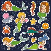 Color vector set of little girls mermaids and fish