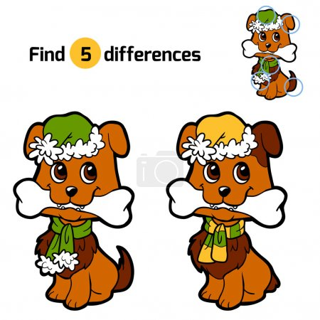 Find differences for children: Christmas animals (dog)