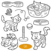 Colorless set of cute domestic animals and objects vector famil