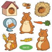 Colorful set of cute domestic animals and objects vector sticke
