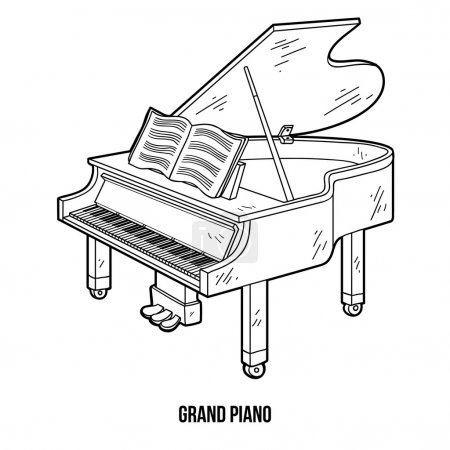 Coloring book for children: musical instruments (grand piano)