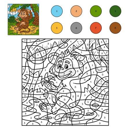 Illustration pour Couleur par numéro, jeu pour enfants : singe animal avec une banane - image libre de droit