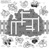 Vector crossword education game for children about berries