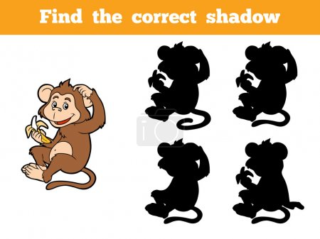 Illustration for Game for children: Find the correct shadow (little monkey with a banana) - Royalty Free Image