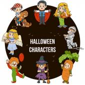 Vector set of Halloween cute characters cartoon collection col