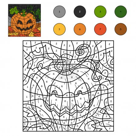 Color by numbers: Halloween pumpkin
