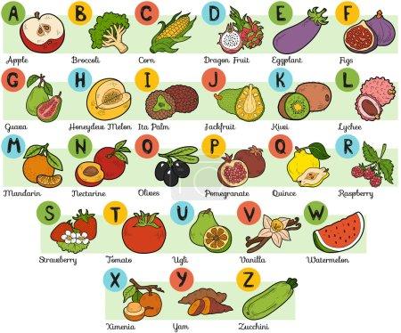 Color alphabet for children: fruits and vegetables