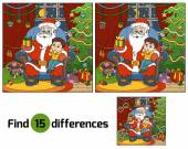 Find differences education game: Santa Claus gives a gift a little boy