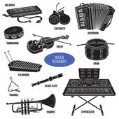 Shadow set with musical instruments vector cartoon collection