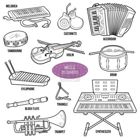 Illustration pour Set incolore avec instruments de musique, collection de dessins animés vectoriels pour enfants - image libre de droit