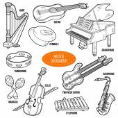 Colorless set with musical instruments vector cartoon collectio