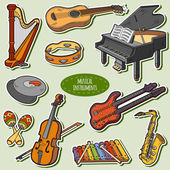 Color set with musical instruments vector cartoon stickers