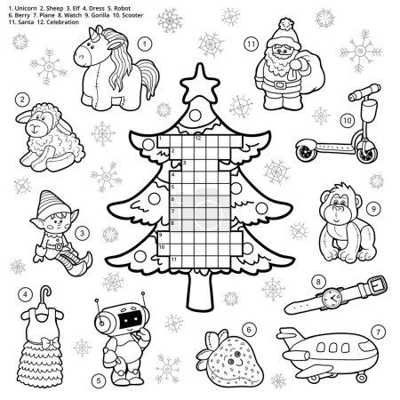 Illustration pour Mots croisés vectoriels, jeu éducatif pour les enfants sur les cadeaux de Noël - image libre de droit
