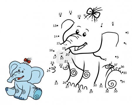 Illustration pour Jeu de chiffres pour enfants, jeu éducatif : éléphant - image libre de droit